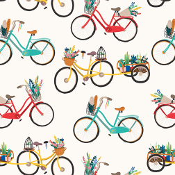 Illustrated Bikes Pattern