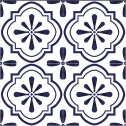 Blue Mosaic Floral Tile - Sample Kit
