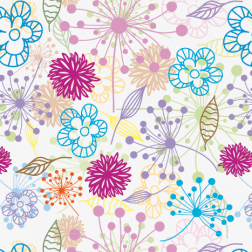 Bright Floral Outline Pattern