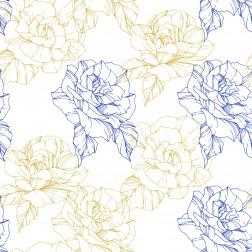 Blue & Gold Floral Outline Pattern