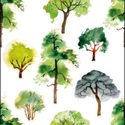 Watercolor Trees Pattern